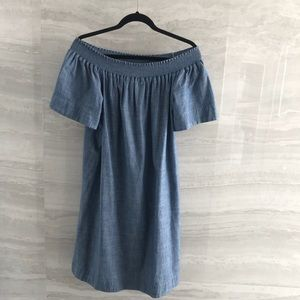 Jcrew off the shoulder chambray dress